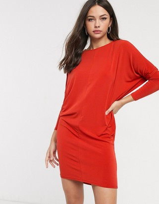 Glamorous long sleeve mini dress in rust
