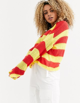 The Ragged Priest loose knit stripe jumper in red and yellow