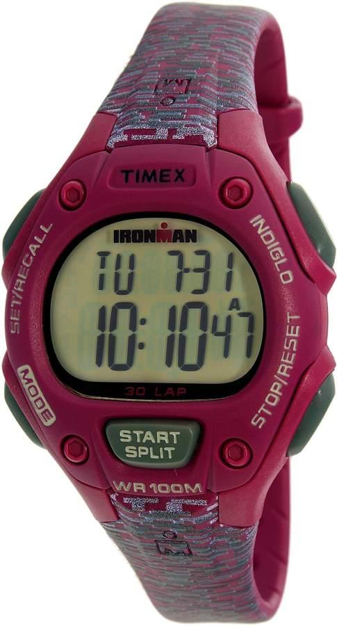 Timex Women's Ironman TW5M07600 Fuchsia Rubber Analog Quartz Sport Watch