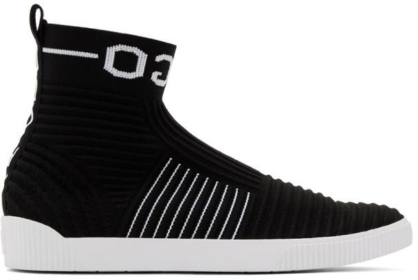 HUGO Black Knit Zero High-Top Sneakers