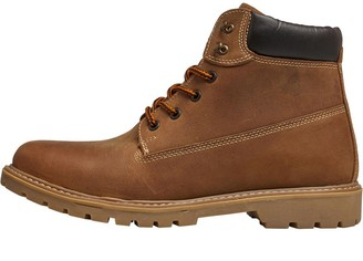 Onfire Mens Cleat Soled Leather Boots Brown
