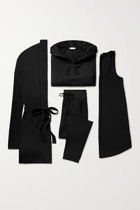 Skin Ribbed Stretch-jersey Set - Black