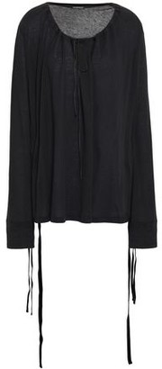 Ann Demeulemeester Velvet-trimmed Cotton And Silk-blend Jersey Top