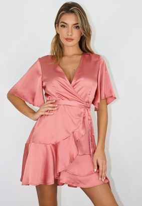Missguided Pink Satin Flutter Sleeve Wrap Dress