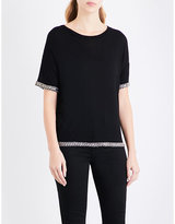 The Kooples Embellished-trim jersey T-shirt