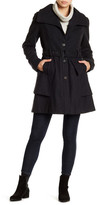 GUESS Belted Draped Lapel Wool Blend Coat