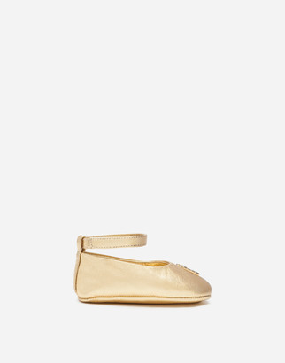 Dolce & Gabbana Ankle Strap Ballerina Shoes In Laminated Nappa Leather