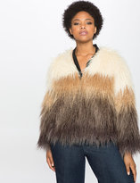 ELOQUII Plus Size Studio Colorblock Faux Fur Coat