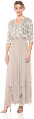 R & M Richards R&M Richards Women's 2 PCE Lace Georgette Jacket Dress - Beige - 16