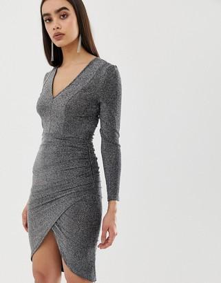 Girl In Mind metallic wrap midi dress