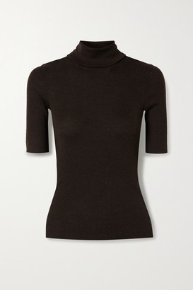 Theory Leenda R Ribbed Merino Wool-blend Turtleneck Sweater - Dark brown