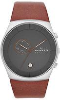 Skagen Havene Men's Stainless Steel Leather Strap Watch