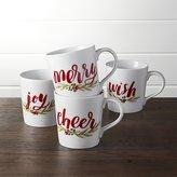 Crate & Barrel Seasons Greetings Mugs Set of Four
