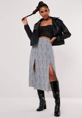 Missguided White Dalmatian Print Double Split Midi Skirt