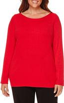 Liz Claiborne Long-Sleeve Boatneck Ribbed Sweater - Plus