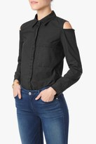 7 For All Mankind Long Sleeve Cold Shoulder Shirt In Black