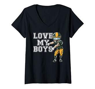 Womens Love My Boys Mom Grandma Green Football Team Gifts V-Neck T-Shirt