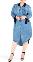 Plus Size Women's Standards & Practices High/low Denim Shirtdress