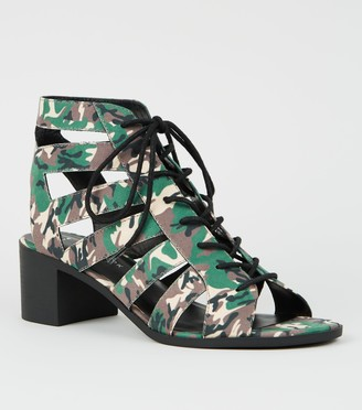 New Look Camo Lace Up Ghillie Heel Sandals