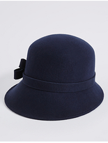 M&S Collection Pure Wool Velvet Bow Cloche Winter Hat
