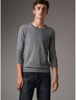 Burberry Lightweight Crew Neck Cashmere Sweater With Check Trim , Size: Xxxl, Grey