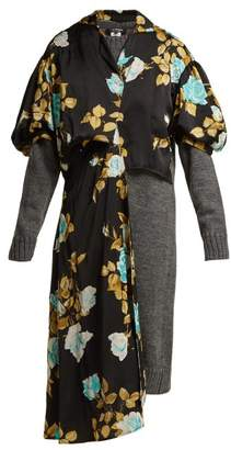 Junya Watanabe Floral-print Satin And Wool Dress - Womens - Black Multi