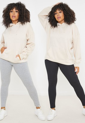Missguided Plus Size Grey And Black Jersey Leggings 2 Pack