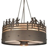 Mica Gatlin 4 - Light Shaded Drum Chandelier Millwood Pines Finish: Rust, Shade Color/Pattern: White