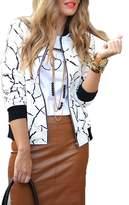 Subtle Flavor Women's Pattern O-Nneck Long Sleeve Zip Up Jacket Outerwear Coats Style3