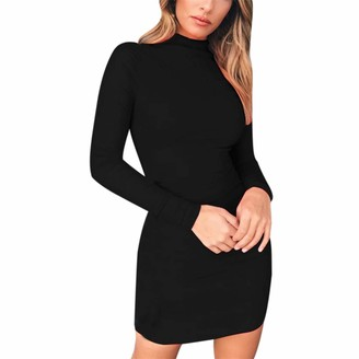 Greatestpak Dresses Bodycon Turtleneck Dress