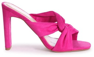 Linzi GOTTA HAVE - Hot Pink Suede Mule With Knotted Front Strap And Thin Heel