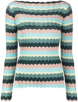 Roberto Collina Long Sleeve Striped Knitted Top