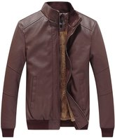 WenVen Men's Winter Fashion Faux Leather Jackets(, L)