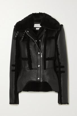 Alexander McQueen Shearling-trimmed Leather Biker Jacket - Black
