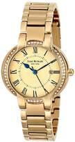 Isaac Mizrahi Women's IMN62G Gold Tone Paved Case Steel Polished Brushed Link Bracelet Watch