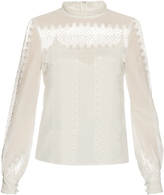 Self-Portrait Lace-panelled cotton and silk-blend top