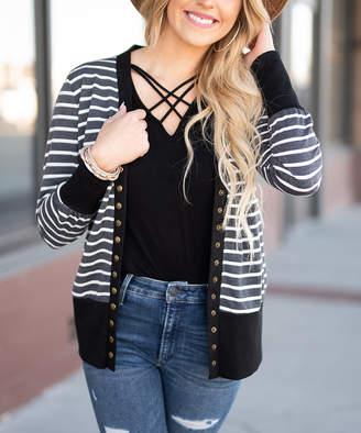 Aili's Corner Women's Cardigans Black - Black Stripe Snap-Button Cardigan - Women