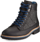 Original Penguin Hiker Mixed-Media Leather Lace-Up Boot, Black