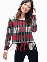 Splendid Plaid Fringe Pullover