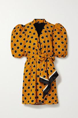 Johanna Ortiz Eccentric Words Wrap-effect Printed Satin-twill Mini Dress - Saffron