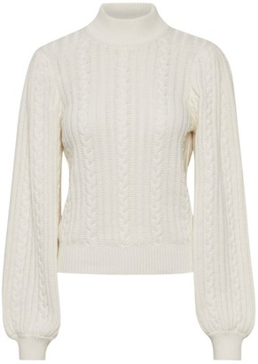 Gestuz Rawan Cable Knit Open-Back Turtleneck Sweater
