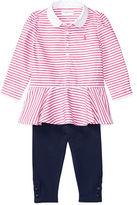 Ralph Lauren Childrenswear Two-Piece Striped Peplum Top and Legging Set