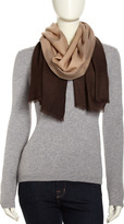 Neiman Marcus Dip-Dye Dotted Wool Wrap, Natural