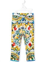 Dolce & Gabbana Majolica print trousers - kids - Cotton/Spandex/Elastane - 10 yrs