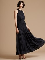 Halston Metallic Memory Georgette Floral Applique Gown