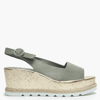 Högl Khaki Suede Low Cork Wedge Sandals