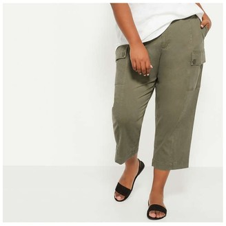 Joe Fresh Women+ Wide Leg Cargo Pants, Olive (Size 16)