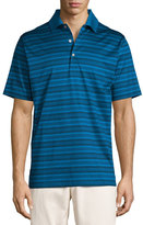 Peter Millar Hurricane Striped Cotton Lisle Polo Shirt, Blue/Black