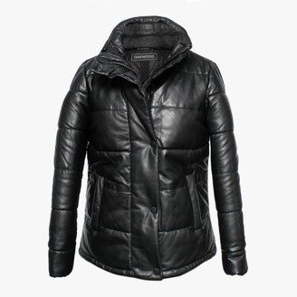 Oakwood Dolly Black Leather Padded Bomber Jacket