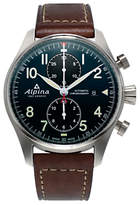 Alpina Al-725n4s6 Startimer Pilot Automatic Chronograph Date Leather Strap Watch, Brown/dark Blue